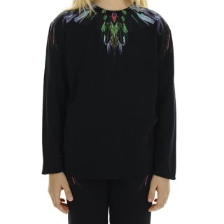 <img class='new_mark_img1' src='https://img.shop-pro.jp/img/new/icons16.gif' style='border:none;display:inline;margin:0px;padding:0px;width:auto;' />【30%OFF】Marcelo burlon Kids(マルセロバーロン キッズ)| KIDS OF MILAN|WING FLOW 長袖Tシャツ/ブラック