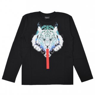 <img class='new_mark_img1' src='https://img.shop-pro.jp/img/new/icons16.gif' style='border:none;display:inline;margin:0px;padding:0px;width:auto;' />【30%OFF】Marcelo burlon Kids(マルセロバーロン キッズ)| KIDS OF MILAN|WHITE TIGER 長袖Tシャツ/ブラック