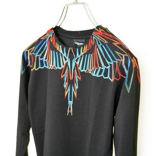 <img class='new_mark_img1' src='https://img.shop-pro.jp/img/new/icons16.gif' style='border:none;display:inline;margin:0px;padding:0px;width:auto;' />【30%OFF】Marcelo burlon Kids(マルセロバーロン キッズ)| KIDS OF MILAN|OUTLINE WING COLOR 長袖Tシャツ/ブラック