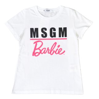 <img class='new_mark_img1' src='//img.shop-pro.jp/img/new/icons34.gif' style='border:none;display:inline;margin:0px;padding:0px;width:auto;' />【30%OFF】MSGM KIDS通販|エムエスジーエムキッズ|大阪正規取扱店舗| BarbieコラボレーションTシャツ|ホワイト