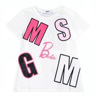 <img class='new_mark_img1' src='https://img.shop-pro.jp/img/new/icons1.gif' style='border:none;display:inline;margin:0px;padding:0px;width:auto;' />MSGM KIDS通販|エムエスジーエムキッズ|大阪正規取扱店舗| Barbieコラボレーションロゴ入りTシャツ|ホワイト
