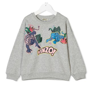 <img class='new_mark_img1' src='//img.shop-pro.jp/img/new/icons1.gif' style='border:none;display:inline;margin:0px;padding:0px;width:auto;' />KENZO KIDS |ケンゾーキッズ 子供服 通販|大阪正規取扱店舗|TIGER プリントスウェット・トレーナー|グレー