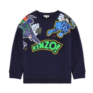 <img class='new_mark_img1' src='https://img.shop-pro.jp/img/new/icons1.gif' style='border:none;display:inline;margin:0px;padding:0px;width:auto;' />【ラスト1点】KENZO KIDS |ケンゾーキッズ 子供服 通販|大阪正規取扱店舗|TIGER プリントスウェット・トレーナー|ネイビー