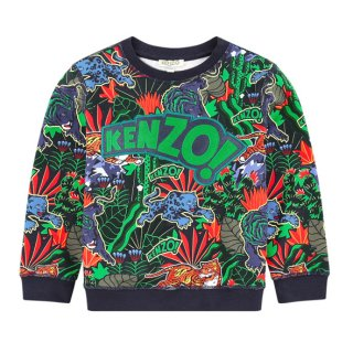 <img class='new_mark_img1' src='https://img.shop-pro.jp/img/new/icons1.gif' style='border:none;display:inline;margin:0px;padding:0px;width:auto;' />【ラスト1点】KENZO KIDS |ケンゾーキッズ 子供服 通販|大阪正規取扱店舗|TIGER 総柄プリントスウェット・トレーナー|ネイビー