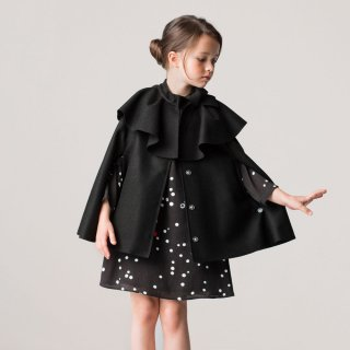 <img class='new_mark_img1' src='https://img.shop-pro.jp/img/new/icons1.gif' style='border:none;display:inline;margin:0px;padding:0px;width:auto;' />【ラスト1点】LANVIN KIDS|ランバン キッズ|子供服|大阪正規取扱店|リボン付きウールケープ・ポンチョ|ブラック