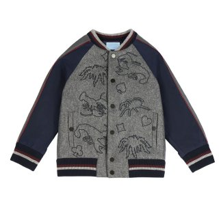 <img class='new_mark_img1' src='https://img.shop-pro.jp/img/new/icons1.gif' style='border:none;display:inline;margin:0px;padding:0px;width:auto;' />LANVIN KIDS|ランバン キッズ|子供服|大阪正規取扱店|刺繍入り切り替えブルゾン|グレー×ネイビー
