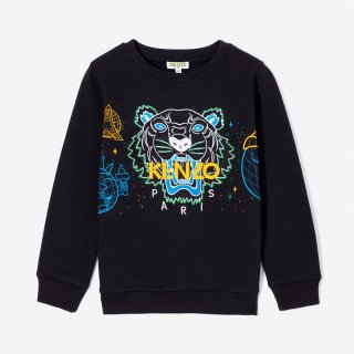 <img class='new_mark_img1' src='https://img.shop-pro.jp/img/new/icons1.gif' style='border:none;display:inline;margin:0px;padding:0px;width:auto;' />KENZO KIDS |ケンゾーキッズ 子供服 通販|大阪正規取扱店舗|Cosmic TIGER 刺繍スウェット・トレーナー|ブラック