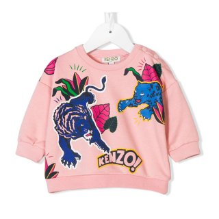 <img class='new_mark_img1' src='//img.shop-pro.jp/img/new/icons1.gif' style='border:none;display:inline;margin:0px;padding:0px;width:auto;' />KENZO KIDS |ケンゾーキッズ 子供服 通販|大阪正規取扱店舗|ベビーサイズTIGER プリントスウェット・トレーナー|ピンク