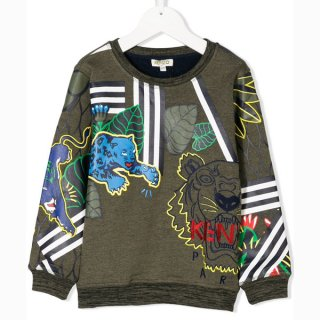 <img class='new_mark_img1' src='https://img.shop-pro.jp/img/new/icons1.gif' style='border:none;display:inline;margin:0px;padding:0px;width:auto;' />KENZO KIDS |ケンゾーキッズ 子供服 通販|大阪正規取扱店舗|TIGER刺繍プリントスウェット・トレーナー|カーキ