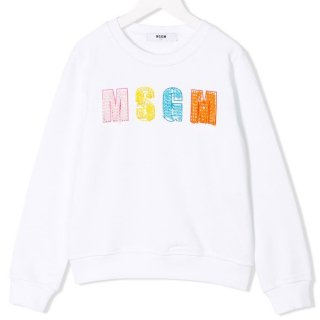 <img class='new_mark_img1' src='https://img.shop-pro.jp/img/new/icons1.gif' style='border:none;display:inline;margin:0px;padding:0px;width:auto;' />MSGM KIDS|エムエスジーエムキッズ 通販|大阪正規取扱店舗|ビジューロゴ スウェット・トレーナー|ホワイト