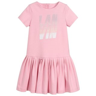 <img class='new_mark_img1' src='https://img.shop-pro.jp/img/new/icons1.gif' style='border:none;display:inline;margin:0px;padding:0px;width:auto;' />LANVIN KIDS ランバン キッズ 子供服 大阪正規取扱店 スパンコールロゴ半袖ワンピース ピンク