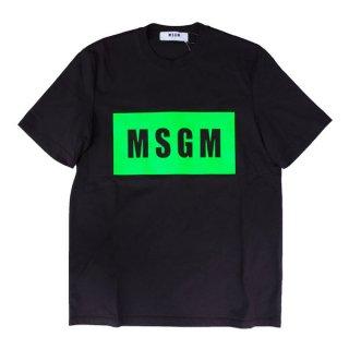 <img class='new_mark_img1' src='https://img.shop-pro.jp/img/new/icons1.gif' style='border:none;display:inline;margin:0px;padding:0px;width:auto;' />MSGM |エムエスジーエム メンズ 通販 |大阪正規取扱店舗|BOX ロゴプリント半袖Tシャツ|ブラック×グリーン