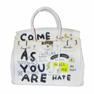 Guernika(ゲルニカ)|SHINICHIROUINUI |Hand Painted Bag 'BIRKIN' (WHITE-2)|guernika (ゲルニカ)
