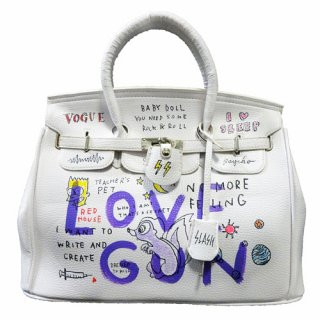 Guernika(ゲルニカ)|SHINICHIROUINUI |Hand Painted Bag 'BIRKIN' (WHITE-3)|guernika (ゲルニカ)