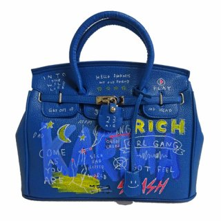Guernika(ゲルニカ)|SHINICHIROUINUI |Hand Painted Bag 'BIRKIN' (BLUE-2)|guernika (ゲルニカ)