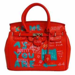 Guernika(ゲルニカ)|SHINICHIROUINUI |Hand Painted Bag 'BIRKIN' (RED-2)|guernika (ゲルニカ)