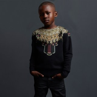 <img class='new_mark_img1' src='//img.shop-pro.jp/img/new/icons16.gif' style='border:none;display:inline;margin:0px;padding:0px;width:auto;' />【60%OFF】 Marcelo burlon Kids(マルセロバーロン キッズ)裏起毛レオパード プリントスウェット/BLACK