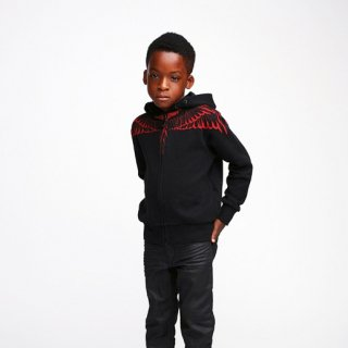 <img class='new_mark_img1' src='//img.shop-pro.jp/img/new/icons1.gif' style='border:none;display:inline;margin:0px;padding:0px;width:auto;' />2016春夏  Marcelo burlon Kids(マルセロバーロン キッズ)RED WINGS  zip upパーカー/ブラック