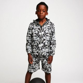 <img class='new_mark_img1' src='https://img.shop-pro.jp/img/new/icons1.gif' style='border:none;display:inline;margin:0px;padding:0px;width:auto;' />2016春夏  Marcelo burlon Kids(マルセロバーロン キッズ)ALL OVER SNAKEナイロンブルゾン/ブラック&ホワイト