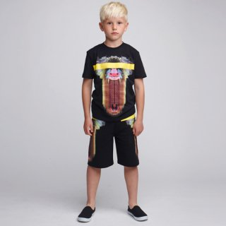 <img class='new_mark_img1' src='//img.shop-pro.jp/img/new/icons16.gif' style='border:none;display:inline;margin:0px;padding:0px;width:auto;' />【50%OFF】Marcelo burlon Kids(マルセロバーロン キッズ)MANDRILLOプリント半袖Tシャツ/ブラック