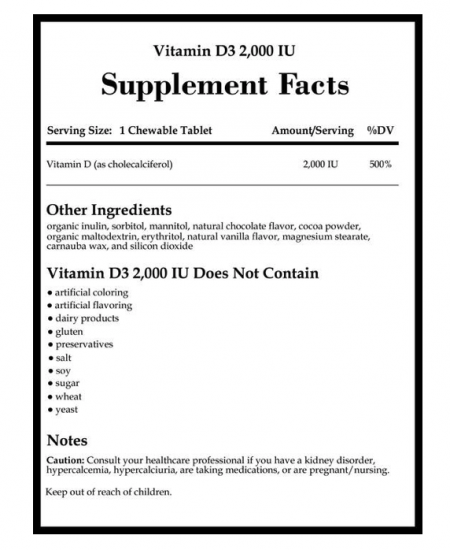 (取) Vitamin  D3  Chocolate  2000IU  120chew    Integrative Therapeutic社 [2]