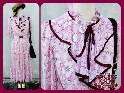 昭和レトロ古着-ロマンティックな花柄 フリルワンピース ピンク