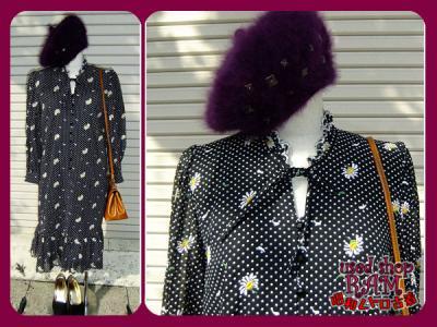 昭和レトロ古着-ドット 花刺繍 裾フリルワンピース 黒
