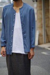 NO CONTROL AIR フィブリルテンセルツイルノーカラーシャツ【Light Blue】