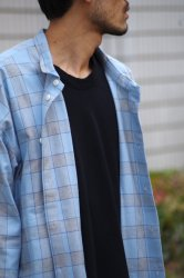 RICE NINE TEN SCANTY SLEEVE WIDE CHECK SHIRT【L.Blue】