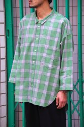 RICE NINE TEN SCANTY SLEEVE WIDE CHECK SHIRT【Green】