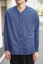 NO CONTROL AIR コットンリネンラフボイルVネックシャツ【Ink Blue】
