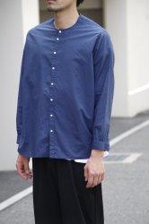 NO CONTROL AIR コットンリネンラフボイルノーカラーシャツ【Ink Blue】