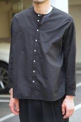 NO CONTROL AIR コットンリネンラフボイルノーカラーシャツ【Black】
