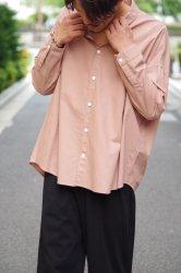 FIRMUM ラフコットンシーチングワイドシャツ【Cocoa Pink】