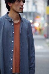FIRMUM ラフコットンシーチングワイドシャツ【Blue Grey】