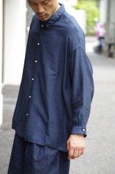 NO CONTROL AIR リヨセル&ナイロンカルゼワイドシャツ【Navy Blue】