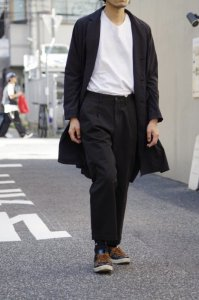RICCARDO METHA DRAGON TWILL 1TUCK WIDE PANTS【Black】