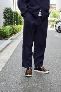 LAMOND【ラモンド】 KERSEY STRECH WIDE PANTS【D.NAVY】