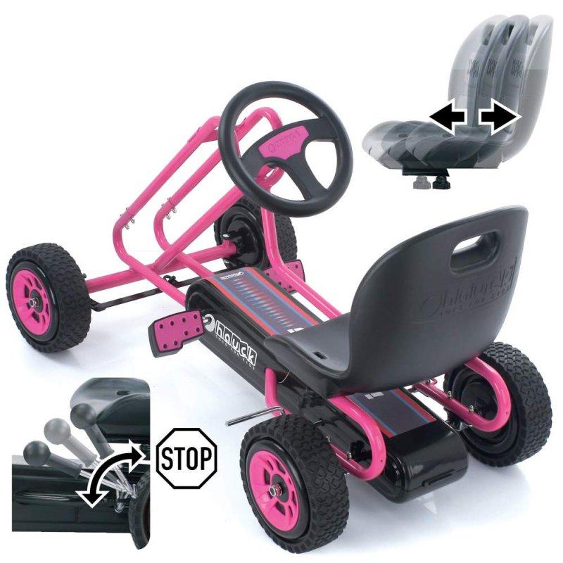 【即納】ドイツの名門ハウク・ペダル・ゴーカート<Hauck Lightning Pedal Go Kart> 速走・機敏操作 頑丈フレーム しっかりグリップ 欧米のベストセラー  カラー:ピンク【画像2】