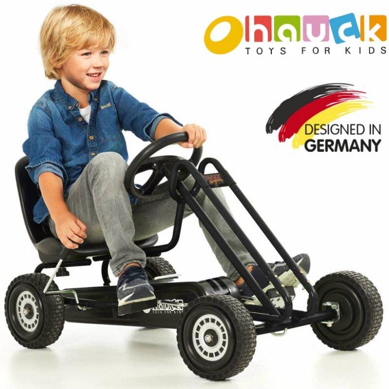 【即納】ドイツの名門ハウク・ペダル・ゴーカート<Hauck Lightning Pedal Go Kart> 速走・機敏操作 頑丈フレーム しっかりグリップ  カラー:ブラック