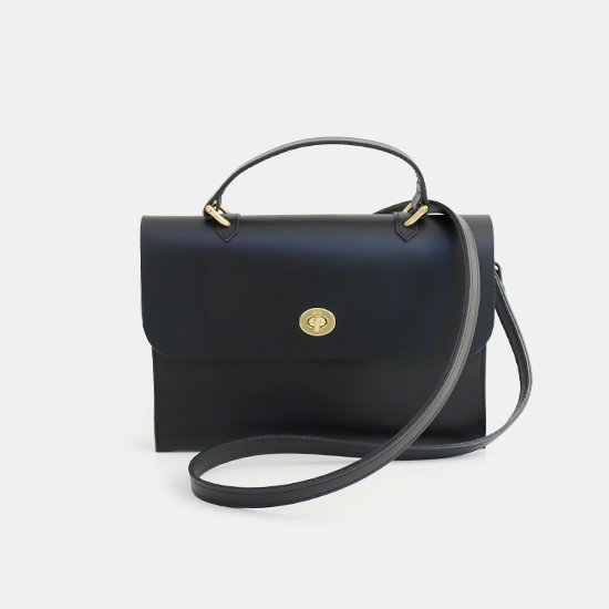 Mimi<BR>Leather Shoulder Bag〈 Hebe 〉<br>Black