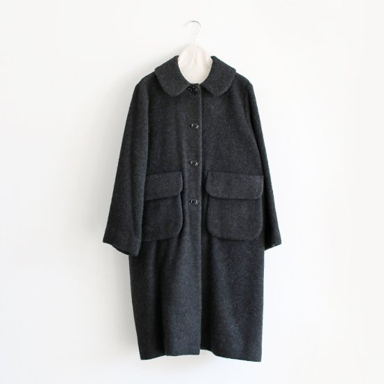 Lin Francais D'antan <BR>Wool Alpaca Coat〈 Carra 〉<BR>Dark Grey