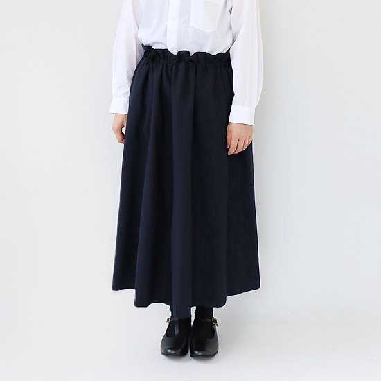 ゴーシュ <br/> Wool Herringbone Skirt / Navy