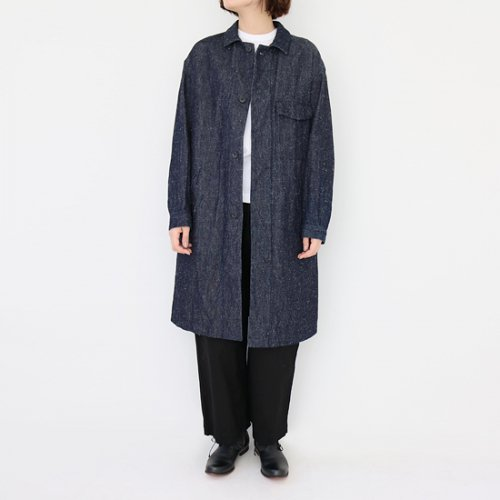 ゴーシュ <br/> Cotton Silk Denim Coat<br/>Navy