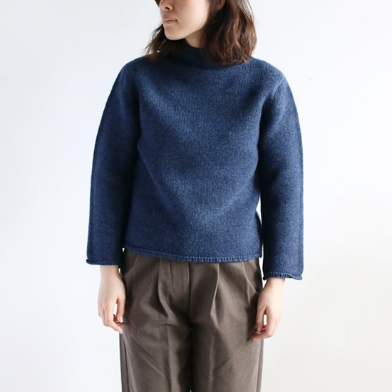 <img class='new_mark_img1' src='//img.shop-pro.jp/img/new/icons54.gif' style='border:none;display:inline;margin:0px;padding:0px;width:auto;' />Lin Francais D'antan <BR>Wool Cashmere Hi-Neck Knit〈 Kubin 〉<br>Indigo