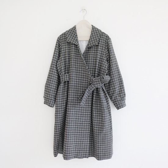 Lin Francais D'antan <BR>Wool Coat〈 Klaus 〉<BR>White×Black