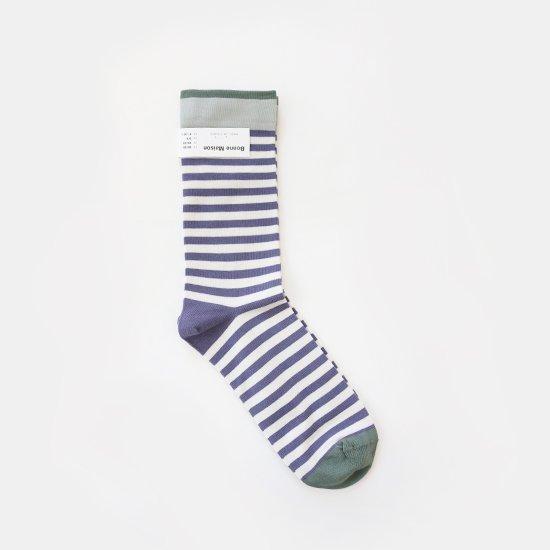 Bonne Maison<br>コットンソックス<br>Purple Stripe