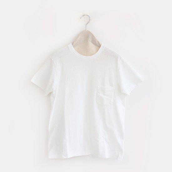 Yaeca Men<br>コットンクルーネックポケットTシャツ<br>White