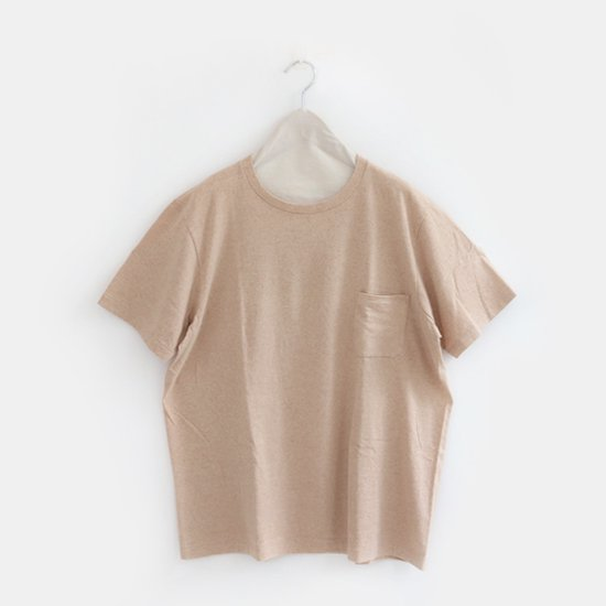 Yaeca Men<br>コットンクルーネックポケットTシャツ<br>Brown