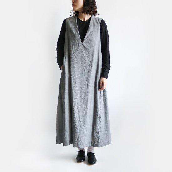 ゴーシュ<br>ウールトロピカルノースリーブドレス<br>Light Grey